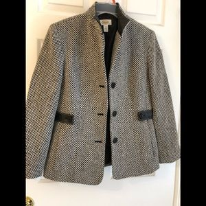 Talbots Chevron Wool Blazer with Leather Trim Sz 4